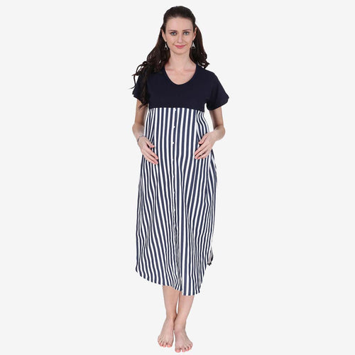 Navy Blue & White Striped Maternity Dress