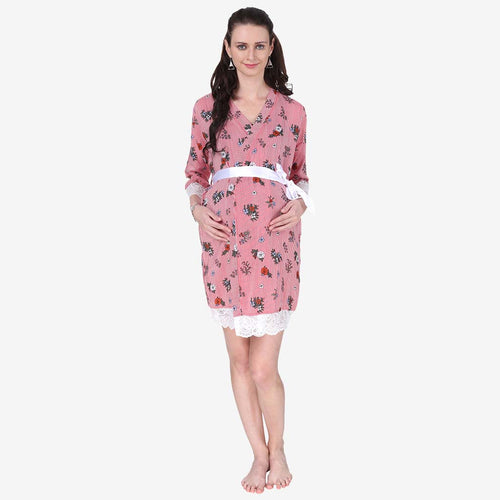 Cute Pink Floral Print Maternity Robe
