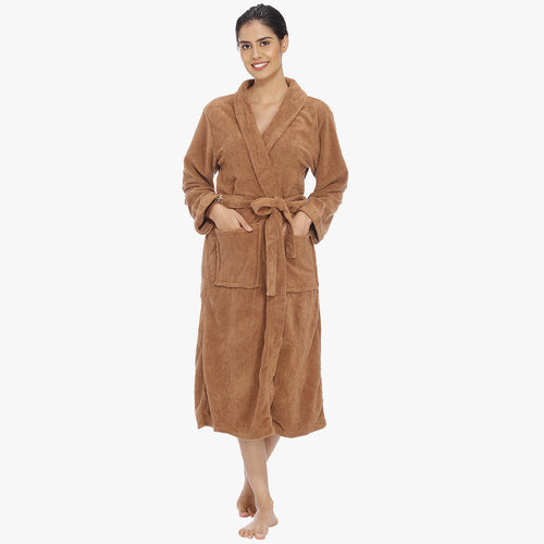 Caramel Brown Fleece Bathrobe