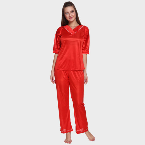 Candy Red Satin Nightsuit
