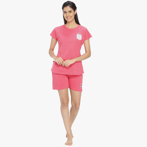 Hot Pink Hosiery Solid Top & Shorts Set
