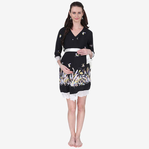 Midnight Black Printed Maternity Robe
