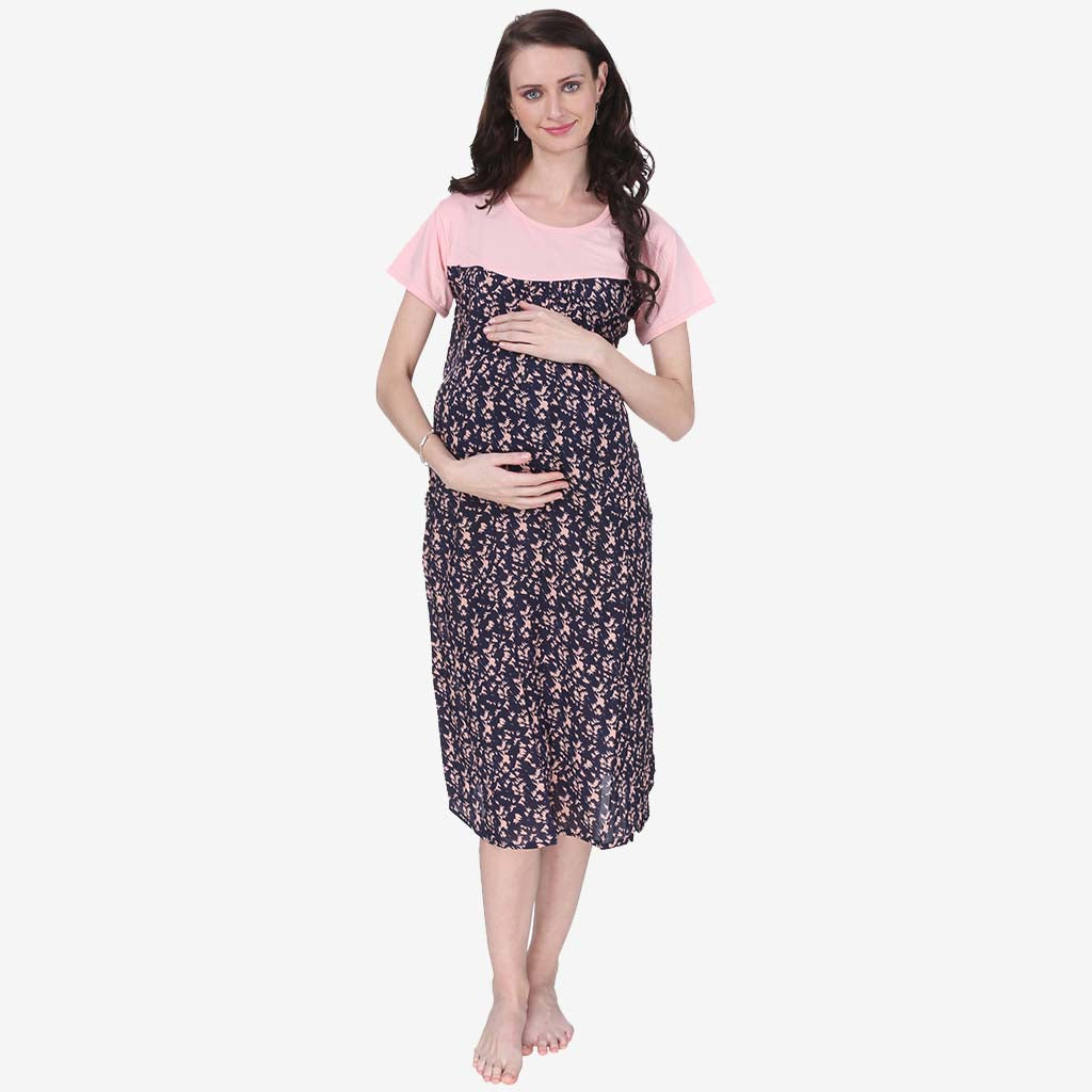 c7518538a441e Coral Pink and Blue Printed A-Line Maternity Dress – Vixenwrap