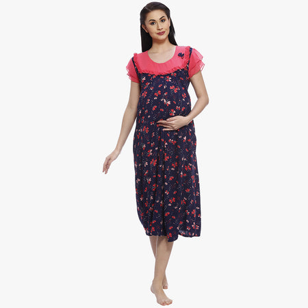 511b33e6a9d46 Navy Blue & Pink Rayon Printed Maternity Dress