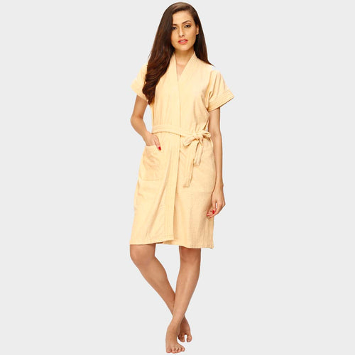 Peach Water Absorbent Cotton Bathrobe
