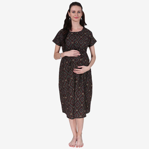 Multicolor Printed A-Line Maternity Dress