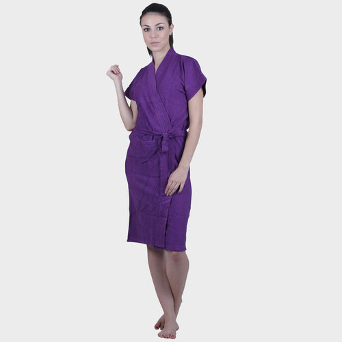Violet Solid Water Absorbent Cotton Bathrobe