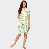 Daisy Lime Modern Print Water Absorbent Cotton Bathrobe