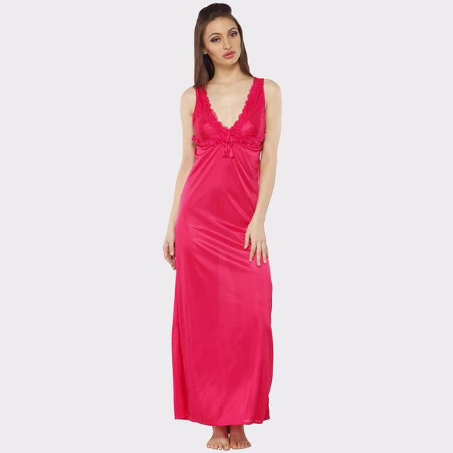 Vixenwrap Hot Pink Solid Nightgown with Robe