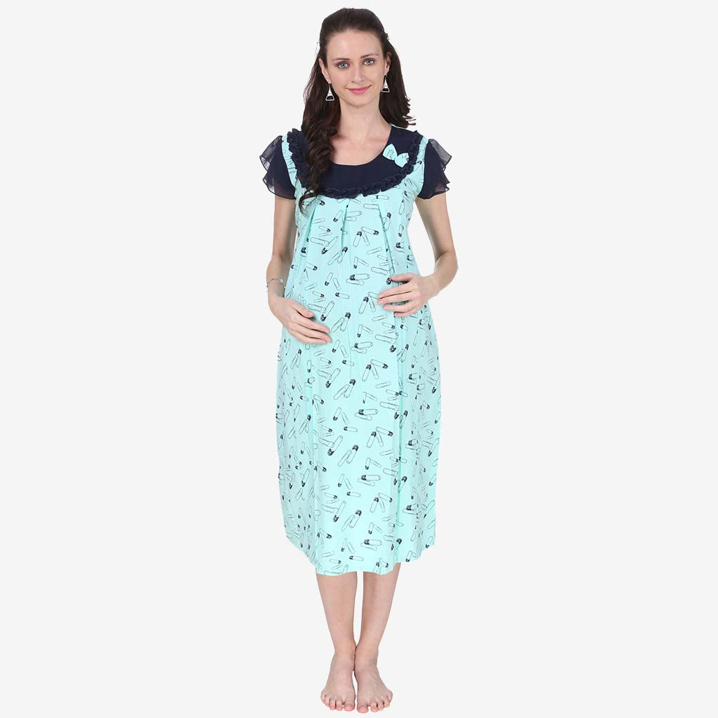 554091315a0b8 Tiffany Blue Printed Maternity Dress – Vixenwrap