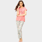 Vixenwrap Rose Pink & Baby Blue Printed Top & Pyjama Set