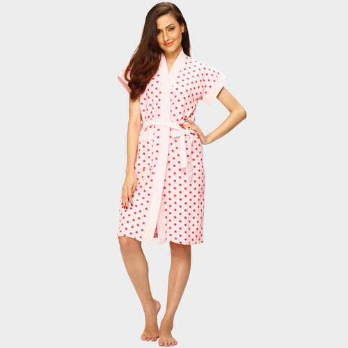 Baby Pink Polka Print Water Absorbent Cotton Bathrobe