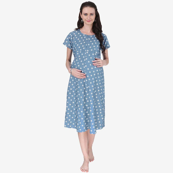 b84f75639a Baby Blue Printed Maternity Dress – Vixenwrap