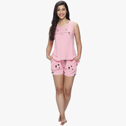 Cute Pink Rayon Printed Top & Shorts Set