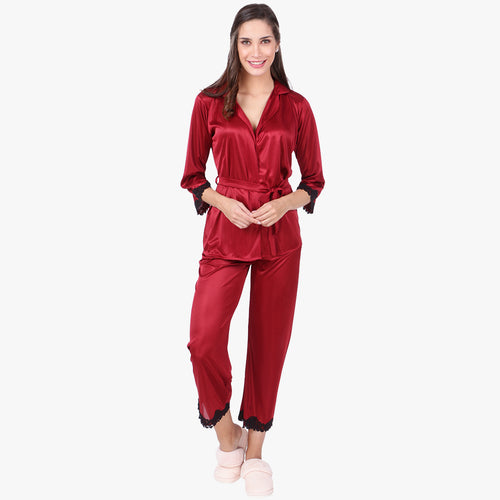 Ruby Red Satin Nightsuit