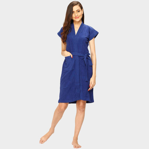 Berry Blue Water Absorbent Cotton Bathrobe