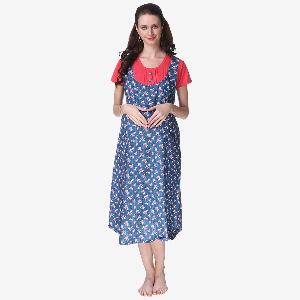 204ee6a5f1 Persian Blue   Red Printed A-Line Maternity Dress – Vixenwrap
