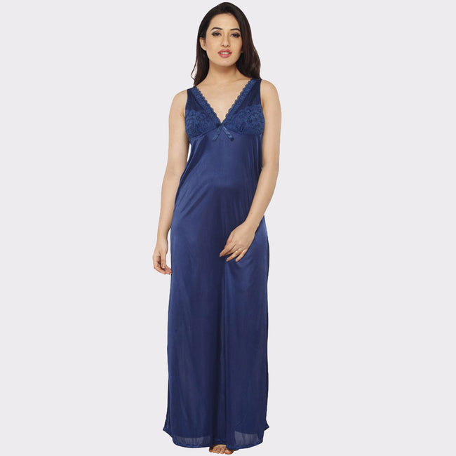Vixenwrap Berry Blue Solid Nightgown with Robe
