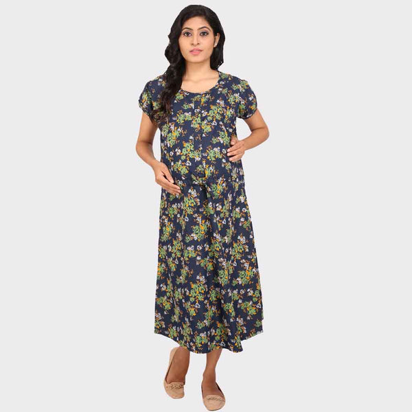 4a562937ddca5 Denim Blue Floral Maternity Dress – Vixenwrap