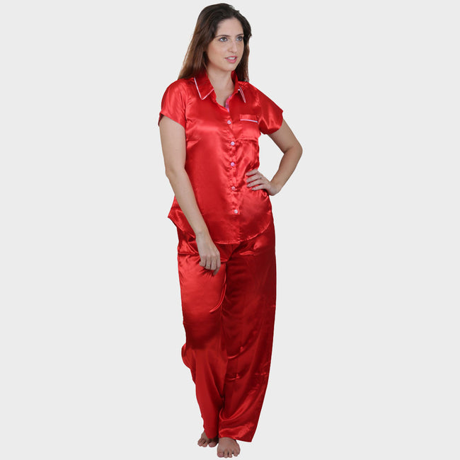 Candy Red Solid Satin Nightsuit