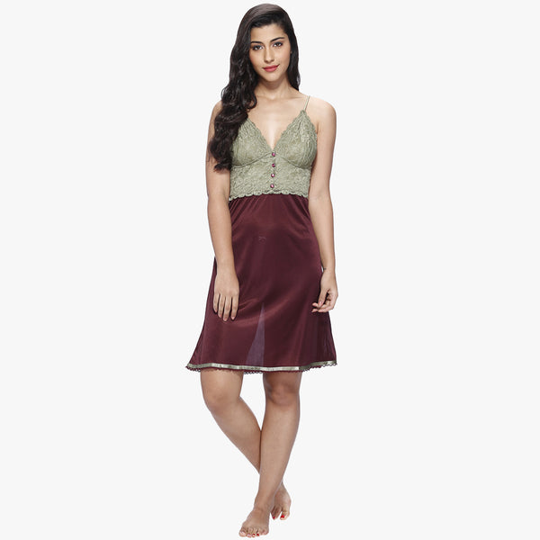 Vixenwrap Wine Red Satin Babydoll