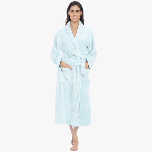 Cute Blush Blue Fleece Bathrobe