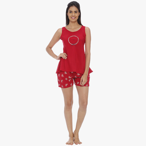 Apple Red Rayon Printed Top & Shorts Set