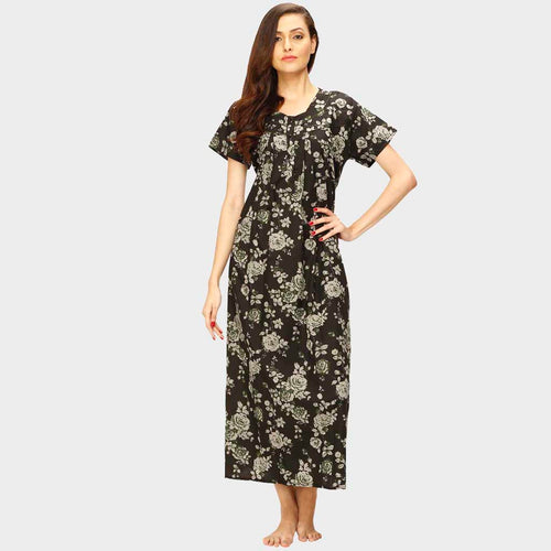 Vixenwrap Ebony Black Floral Print Nighty