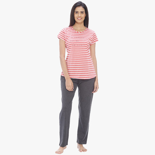 Vixenwrap Coral Pink & Dark Grey Hosiery Striped Top & Pyjama Set