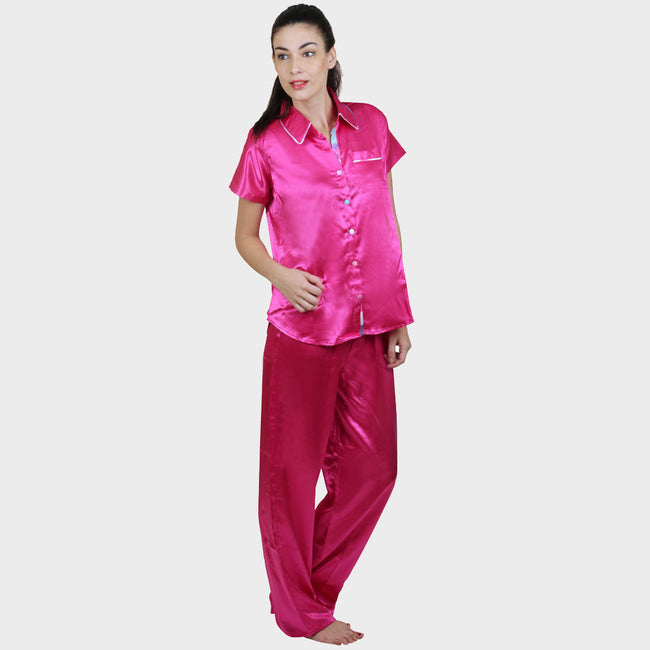 Hot Pink Solid Satin Nightsuit