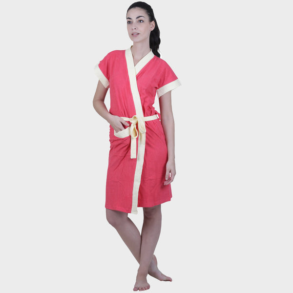 Punch Pink Solid Water Absorbent Cotton Bathrobe
