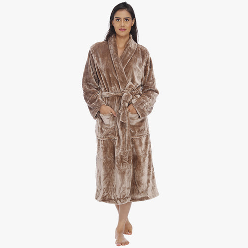 Chocolate Brown Fleece Bathrobe