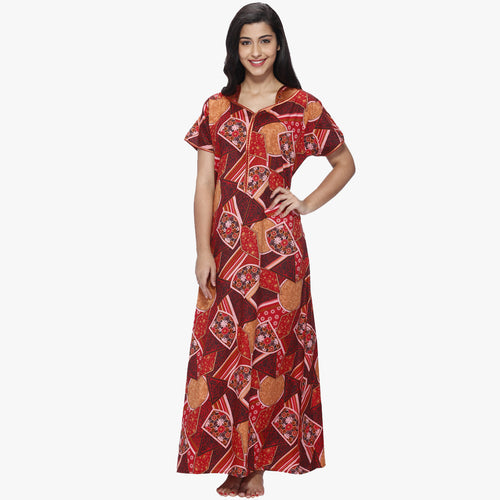 Vixenwrap Red Printed Cotton Nighty