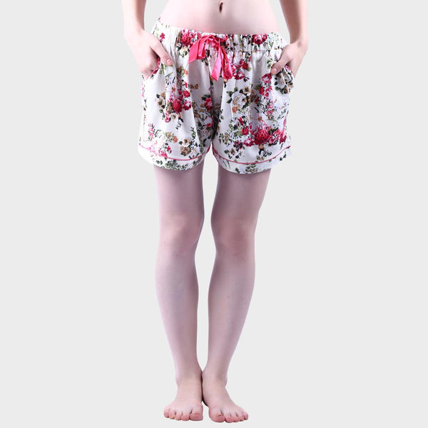 Daisy White Floral Print Shorts