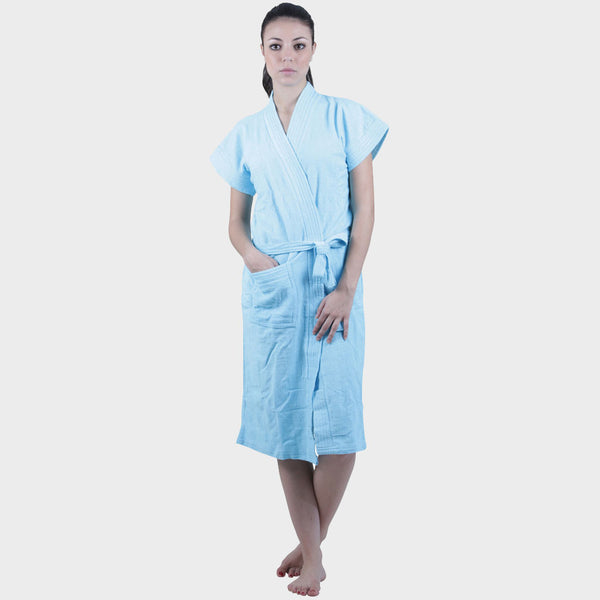 Sky Blue Solid Water Absorbent Cotton Bathrobe