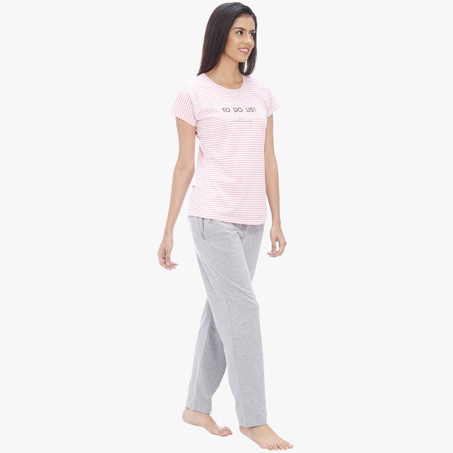 Vixenwrap Baby Pink & Light Grey Hosiery Striped Top & Pyjama Set