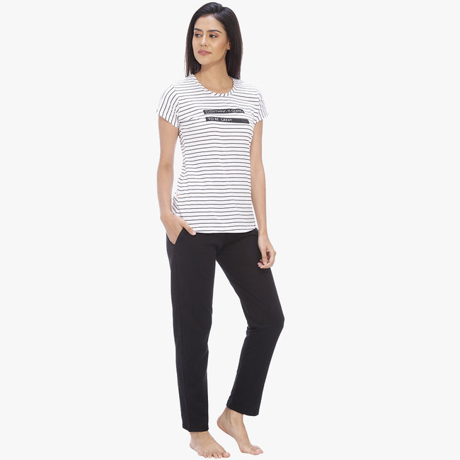 Vixenwrap Daisy White & Jet Black Hosiery Striped Top & Pyjama Set