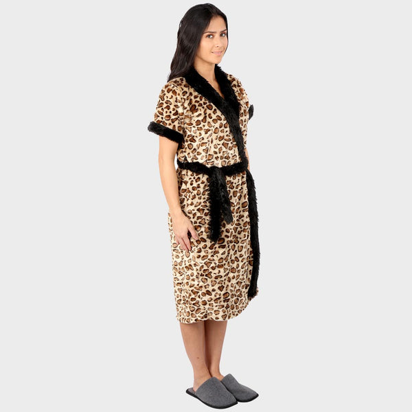 Golden Leopard Print Bathrobe