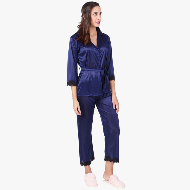 Berry Blue Satin Nightsuit