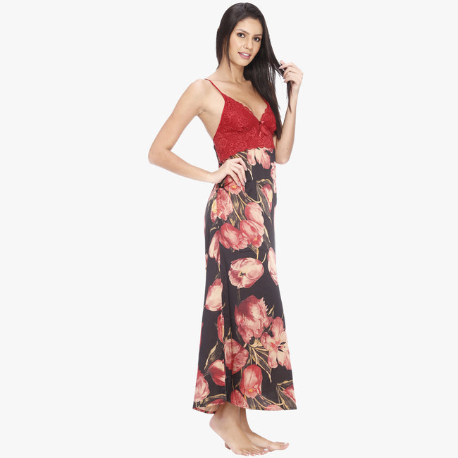 Vixenwrap Red Floral Print Satin Nighty