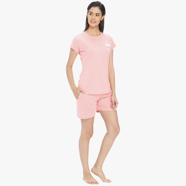 Baby Pink Hosiery Solid Top & Shorts Set