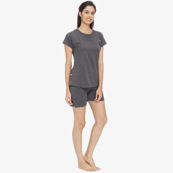 Dark Grey Hosiery Solid Top & Shorts Set