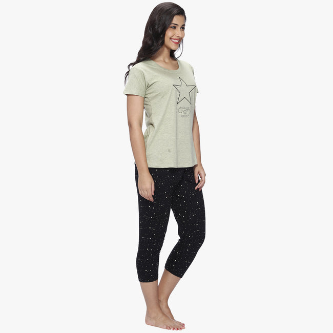 Vixenwrap Olive Green & Jet Black Printed Top & Capri Set