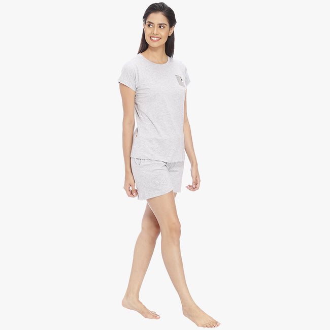Light Grey Hosiery Solid Top & Shorts Set