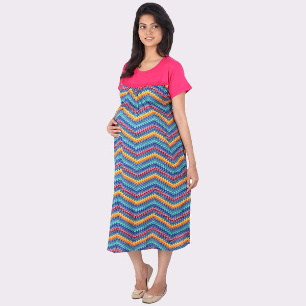Multicolor Chevron Print Cotton Maternity Dress