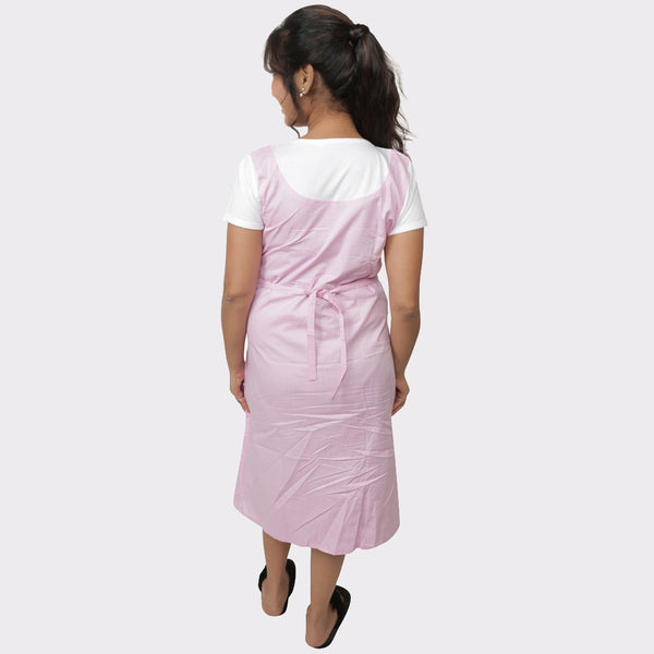 Baby Pink Solid Cotton Maternity Dress