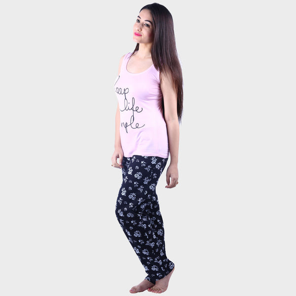 Baby Pink & Black Printed Top & Pyjama Set