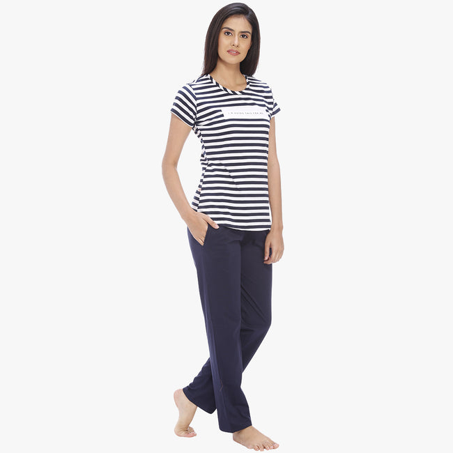 Vixenwrap Navy Blue Hosiery Striped Top & Pyjama Set