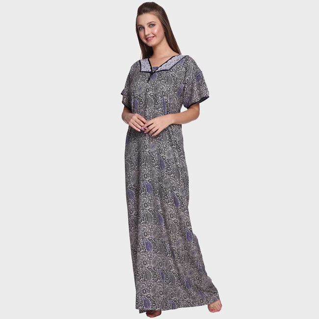 Vixenwrap Grey & Blue Paisley Printed Nighty