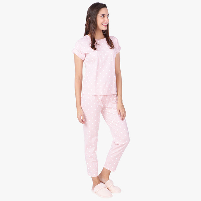 Vixenwrap Cute Pink Hosiery Printed Top & Pyjama Set